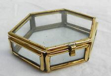 Caja de latón obligados Hexagonales De Vidrio-baratijas, Pantalla, artesanía-Bnwt