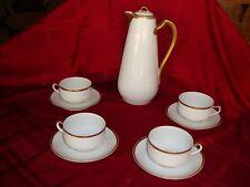 HAVILAND LIMOGES FRANCE CHOCOLATE /TEA / COFFEE SET, POT & 4 CUPS, WHITE & GOLD