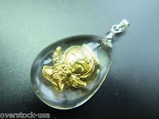 NEW 999 Gold Bless Lucky Angel Man-made Crystal Pendant