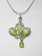 """Green faceted glass pendant on silver tone chain necklace Approx.18"""" and 2.1/2"""""""