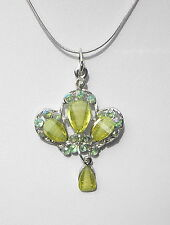 """Green Faceted Glass Silver Tone Pendant & Chain Necklace 18"""" and 2.1/2"""""""