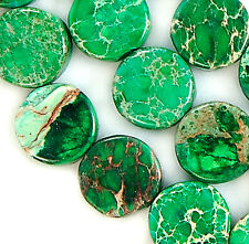 "7mm Green Sea Sediment Jasper Coin Gem Beads 16"""
