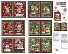Springs Creative ~ Gingerbread Cookie Christmas ~ 100% Cotton Fabric Book Panel