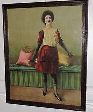 Antique Rare VICTORIAN Woman FENCER Sword Heart Blouse Chromo PRINT Framed c1902