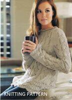 (468) Ladies Sweater Knitting Pattern, Beautiful Design in Merino Silk DK yarn