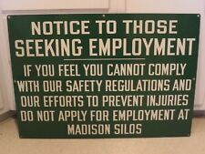 Vintage MADISON SILOS Notice Seeking Employment Sign MINNESOTA WISCONSON ND Cool