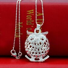 New Women Silver Stylish Fat 3D Hollow OWL locket Pendant Necklaces Chain 20inch