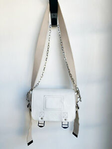 ZADIG & VOLTAIRE Readymade White Leather Beige Canvas Strap Mini Messenger Bag
