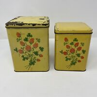 Nesco Tin 1949 Vintage Kitchen Canister Set Square Yellow Metal Rustic Decor