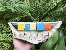 Handmade Ceramic Mosaic Keychain Holder, Blue-Yellow-Green-Orange Wall Art NEW