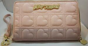 Betsey Johnson Wallet Wristlet Pink Blush Logo Heart NWOT