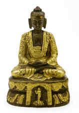 "Antique Brass Seated Buddha Shakyamuni Statue 7"" High Amitabha Budhism Figure"