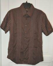 7 Diamonds Mens Button Down Short Sleeve Shirt Sz XL Brown Textured Stretchy