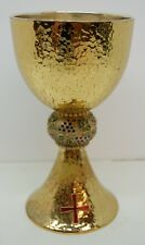 GOLD PLATED HAND HAMMERED CHALICE - INNER CUP STERLING - #374 CHURCH COMMUNION