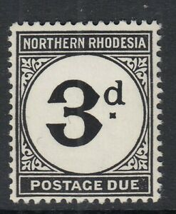 Northern Rhodesia 1952 KGVI Postage Due 3d black SGD3a - MOUNTED MINT