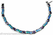 Amethyst & Blue Fire Opal Inlay 925 Sterling Silver Link Tennis Bracelet 7-1/4''