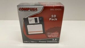 "COMP USA ~ 3.5"" Floppy Diskettes ~ 1.44MB ~ 720Kb ~ 10 Pack ~ New"