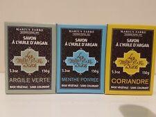 Marius Fabre 1001 French Soap w Argan 3x 150 gr  Peppermint Coriander Green Clay