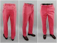 Izod Saltwater Stretch Flat Front Chino Straight Leg Salmon Pink Preppy Pants