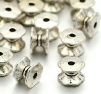 20 Metallperlen Silber 7mm Spacer Perlen zwischenteile Schmuck Basteln F3