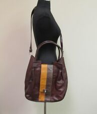 MARC JACOBS Brown Tan Leather Handles Long Strap Cross Body Large Purse B5044