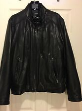 Calvin Klein Leather Jacket Men's Sz L Good Condition