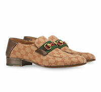 Gucci Men's Beige GG Canvas Horsebit Loafer with Green/Red Web,7G/US8; NIB