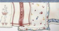 Wallpaper Border Dish Towels on Laundry Line Blue Red Yellow on Eggshell Die Cut