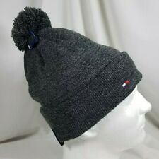 Tommy Hilfiger Winter Beanie Cuffed Charcoal Gray Pom Pom Hat SHIPS FREE