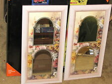 Lot of 2 Mirrors with Floral Pattern Design 10x20
