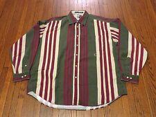 Men's VTG 90's Tommy Hilfiger Olive Beige Maroon Striped Button Down Shirt sz XL