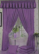 "66"" x 90"" PURPLE MARBLE EFFECT READY MADE FULLY LINED LUXURY HEAVY CURTAINS"