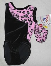 Mondor Performance Gymnastics size 4-6 black pink animal velvet leotard hair tie