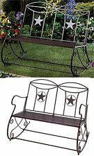 SOUTHWESTERN LONE STAR OUTDOOR ROCKING IRON PORCH GARDEN BENCH ** Texas * NIB