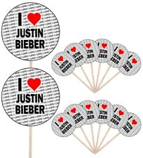 I Love Justin Bieber Party Food Cupcake Picks Sticks Flags Decorations Toppers