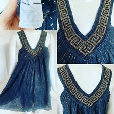 Vtg 1970s Black Cotton Gauze Gold Thread Grecian V Babydoll Mini Dress S 8 10