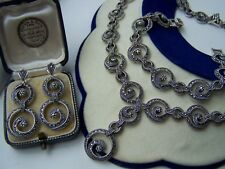 "GORGEOUS SOLID STERLING SILVER MARCASITE 17"" NECKLACE 8"" BRACELET EARRINGS SET"