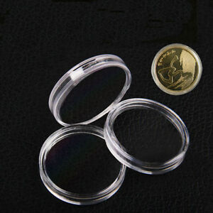 20~100X Clear Round Plastic Coin Capsules Coin Display Cases Container Box