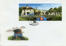 Switzerland Cows Stamps 2019 FDC Day of Stamp Bulle Farm Animals Bridges 1v M/S