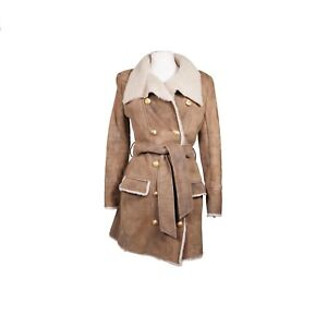 BalmainBeige Shearling Leather Double Breasted Coat Jacket Size 38 RRP $5,920