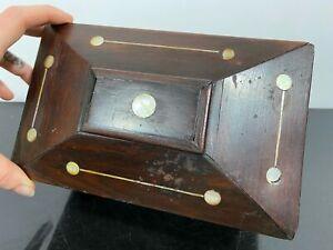 ANTIQUE Reuge Switzerland Primitive Inlaid Woden Music Box Casket Secret Chest