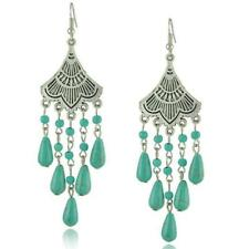 Women Bohemian Gypsy Earrings Tibetan Silver Turquoise Stone Ear Drop Dangle