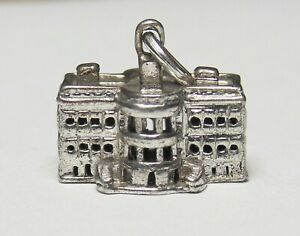 Vintage Sterling Silver US WHITE HOUSE Building Bracelet Charm Pendant