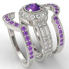 3pcs/Set 925 Silver Amethyst White Sapphire Rings Wedding Engagement Ring #6-10