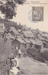 Madagascar 1907 # 64 with numeral cancel L74 on postcard