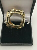 Vintage Gold Tone Scarf Ring Minamilst Simple Modernist Stylish Gift Retro