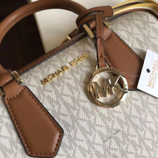 Michael Kors 100% Hayes Travel Duffle Bag MK Signature Logo Vanilla NEW & TAGS