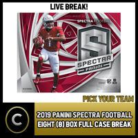 2019 PANINI SPECTRA FOOTBALL 8 BOX (FULL CASE) BREAK #F320 - PICK YOUR TEAM