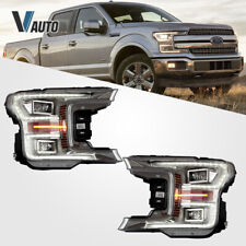 VLAND LED Headlights For Ford F-150 2018 2019 LED DRL Reflector Chrome Assembly