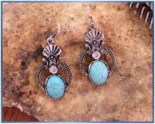 Western Turquoise Crystal Pierced Dangle Hook Cowgirl Earrings